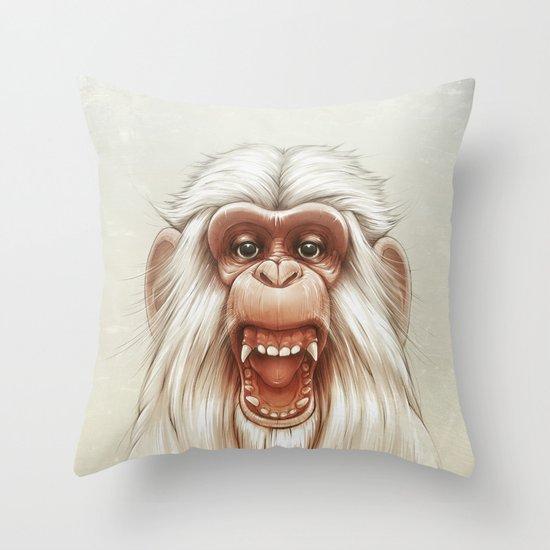 The White Angry Monkey Throw Pillow