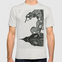 Big Ben And Boudica Mens Fitted Tee Silver SMALL