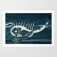 Sky Whale Shark Art Print