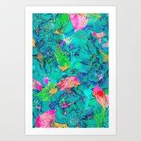 Lake Flowers Fantasy Art Print