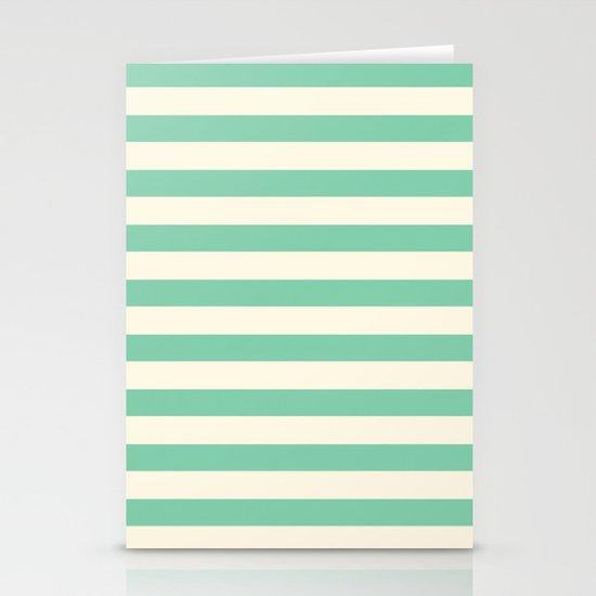 Mint Green Stripes  Stationery Card