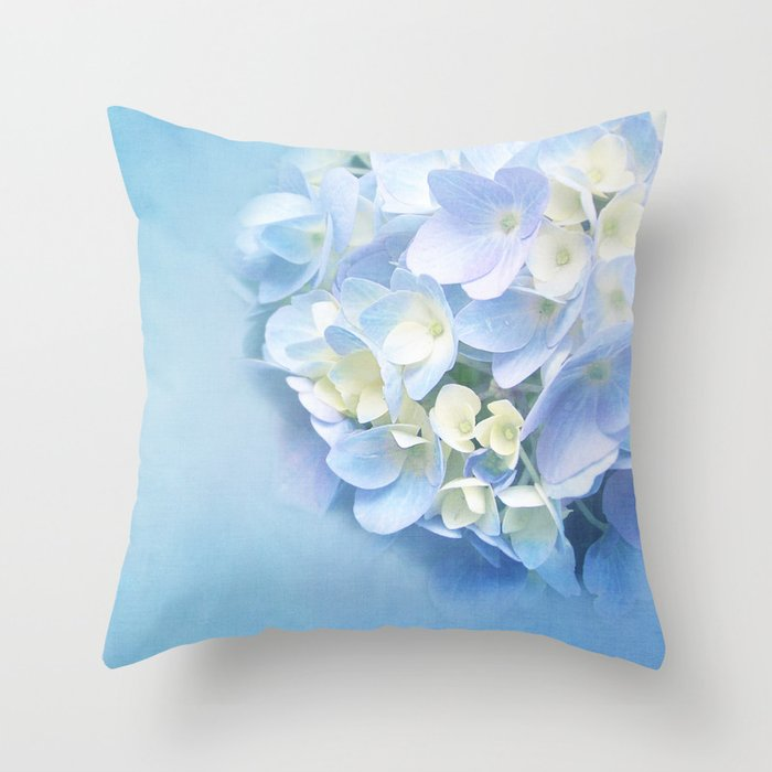 Baby Blue Decorative Pillow : BABY BLUE FLOWER DREAM Throw Pillow by VIAINA Society6