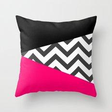 Color Blocked Chevron 8 Throw Pillow