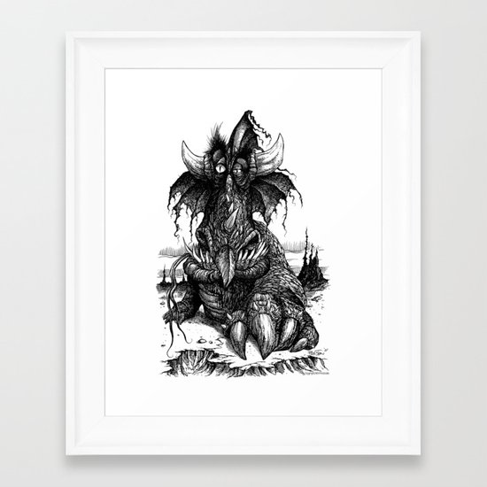 Drowsy Dragon Framed Art Print