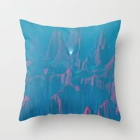 Neon Waterfalls Throw Pillow