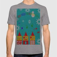 Happy Holidays Mens Fitted Tee Athletic Grey MEDIUM
