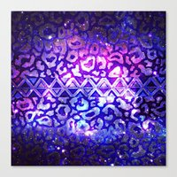 TRIBAL LEOPARD GALAXY Animal Print Aztec Native Pattern Geometric Purple Blue Ombre Space Galactic Canvas Print