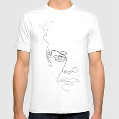 Half-a-Basquiat: One line SMALL White Mens Fitted Tee