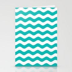 Wavy Stripes (Tiffany Blue/White) Stationery Cards