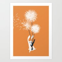 Bunny And Dandelion Bouq… Art Print