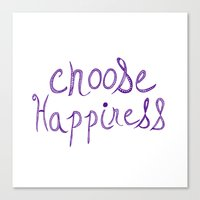 Choose Happiness (purple) Canvas Print