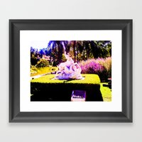 Stop animal abuse, human. Framed Art Print