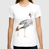 crowned crane Womens Fitted Tee White SMALL