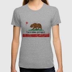 California Flag Womens Fitted Tee Athletic Grey SMALL