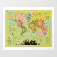 Hemispheres World Map Art Print