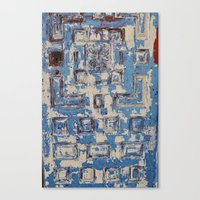 Blue Patterned Door Canvas Print