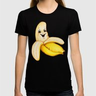 Banana Womens Fitted Tee Black SMALL