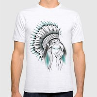 Indian Headdress Mens Fitted Tee Ash Grey SMALL