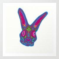 Sugar Skull Bunny Art Print
