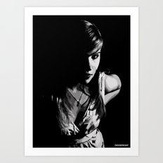 Girl in grey Art Print