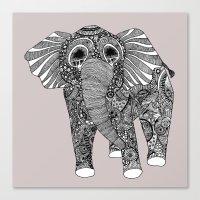 grey elephant square Canvas Print