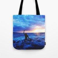 Sunset Swimmer Tote Bag