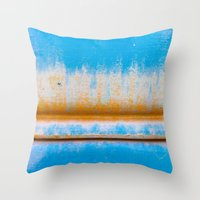 Blue, Yellow and two lines Throw Pillow