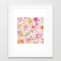 Flower garden in pink and yellow Framed Art Print