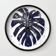 Monstera + Dots Wall Clock
