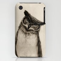 iPhone 3Gs & iPhone 3G Cases featuring Owl Sketch by Isaiah K. Stephens