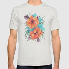 TROPICAL FLOWER {orange hibiscus}  Mens Fitted Tee Silver SMALL
