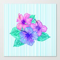 Hibiscus and Stripes Canvas Print
