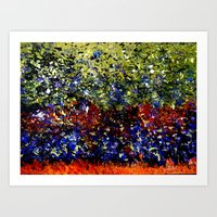 Abstract Painting  - Title: Wild Geese in Flight over Wetland Art Print