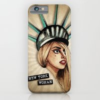 iPhone Cases featuring New York Woman by Helen Green