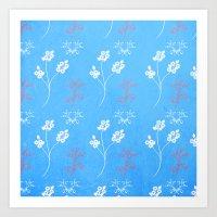 Plein Air Blue Floral Pa… Art Print