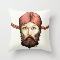 Wendy, The Bearded Lady Throw Pillow