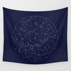 Constellation Map Indigo Wall Tapestry
