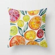 Sliced Citrus Watercolor Throw Pillow