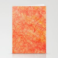 Red And Orange Doodles Stationery Cards
