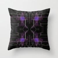 Circuit board purple repeat Throw Pillow