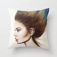 Ombre Hair Throw Pillow