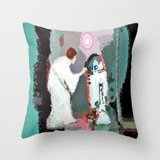 Leia Skywalker And R2d2 Throw Pillow