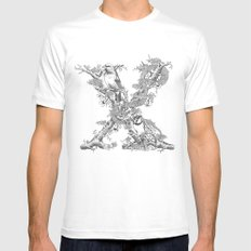 Letter 'X' Monochrome Mens Fitted Tee White SMALL