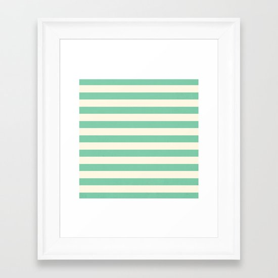 Mint Green Stripes  Framed Art Print