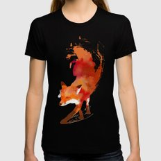 Vulpes vulpes Womens Fitted Tee Black MEDIUM