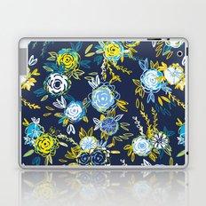 Flower Garden in Navy Neon Laptop & iPad Skin