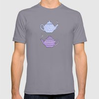 Patterned Teapots Mens Fitted Tee Slate SMALL