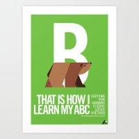 Animal Alphabet B Art Print