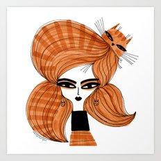 ORANGE TABBY HAIR Art Print
