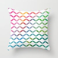 Rainbow Geometric Throw Pillow